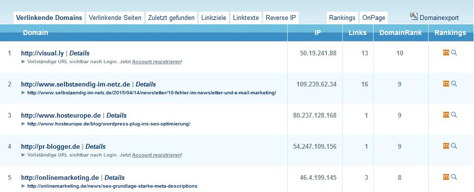 Der Backlink Checker von SEOkicks