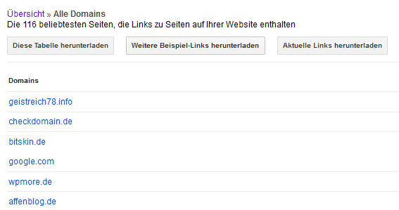 Backlinks in der Google Search Console als Tabelle