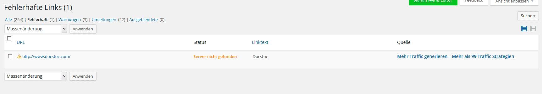 Das WordPress Plugin Broken Link Checker zeigt Error 404 Links