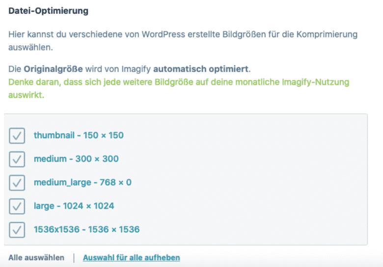 Imagify Dateioptimierungen