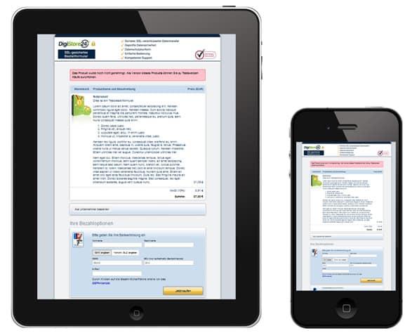Digistore24 Bestellformular auf Smartphone und Tablet