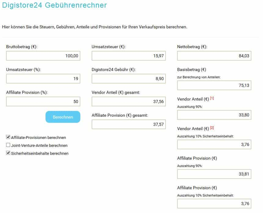 Digistore24 Gebührenrechner