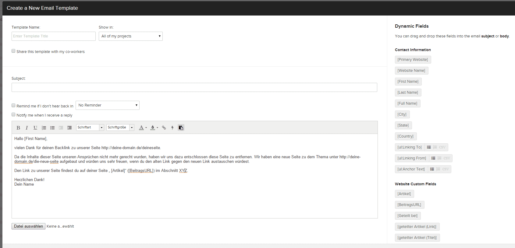 So legst du bei Buzzstream ein E-Mail Template an