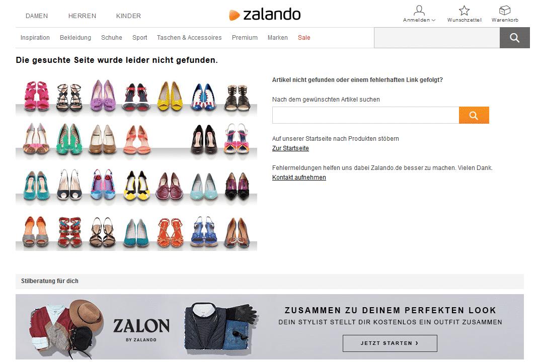 Ansprechende Error 404 Seite von Zalando