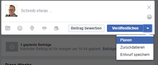Post bei Facebook Planen