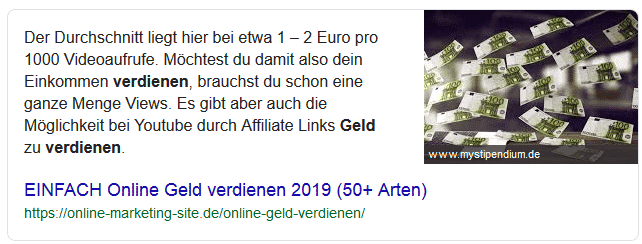 Featured Snippet bei Google