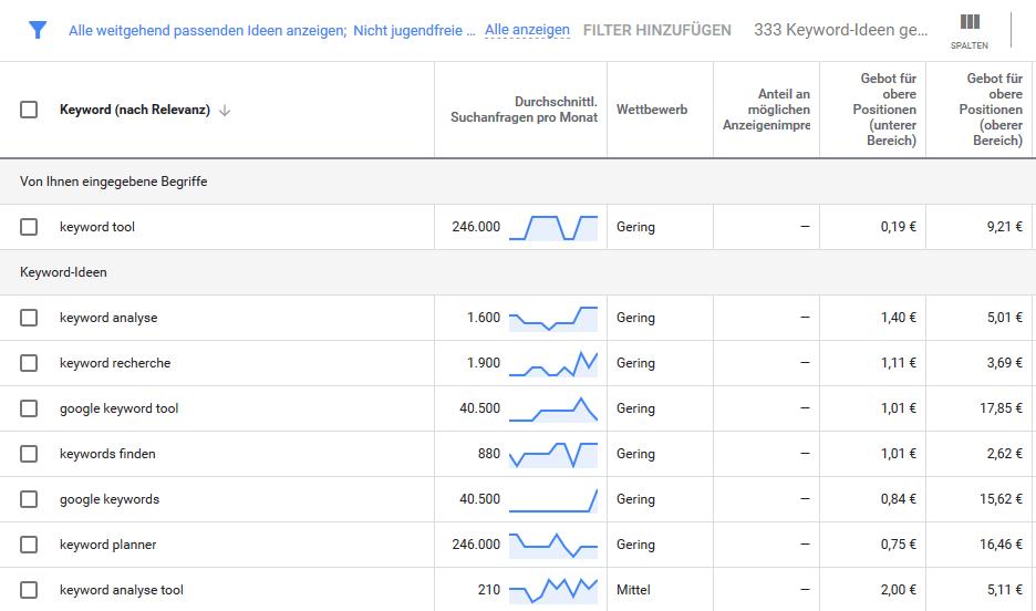 Einblick in den Google Keyword Planner