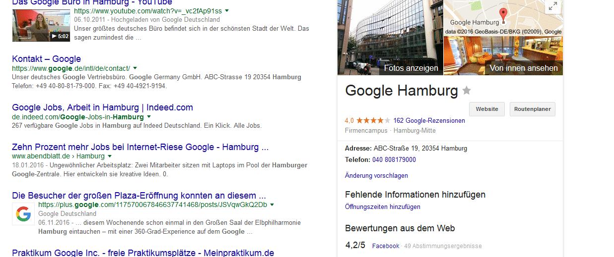 Google Places Eintrag
