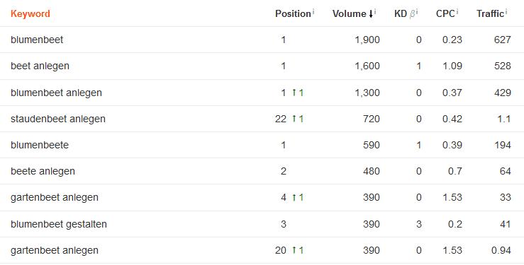 verschiedene Google Rankings zur Seite