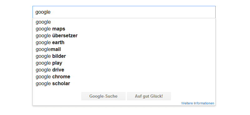 Google Suggest Funktion