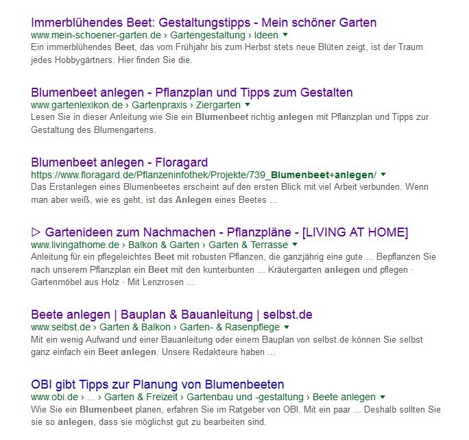 Die Konkurrenz im Google Ranking zum Keyword