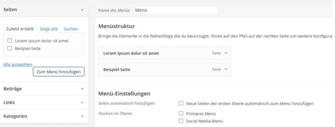 Navigation bei WordPress erstellen