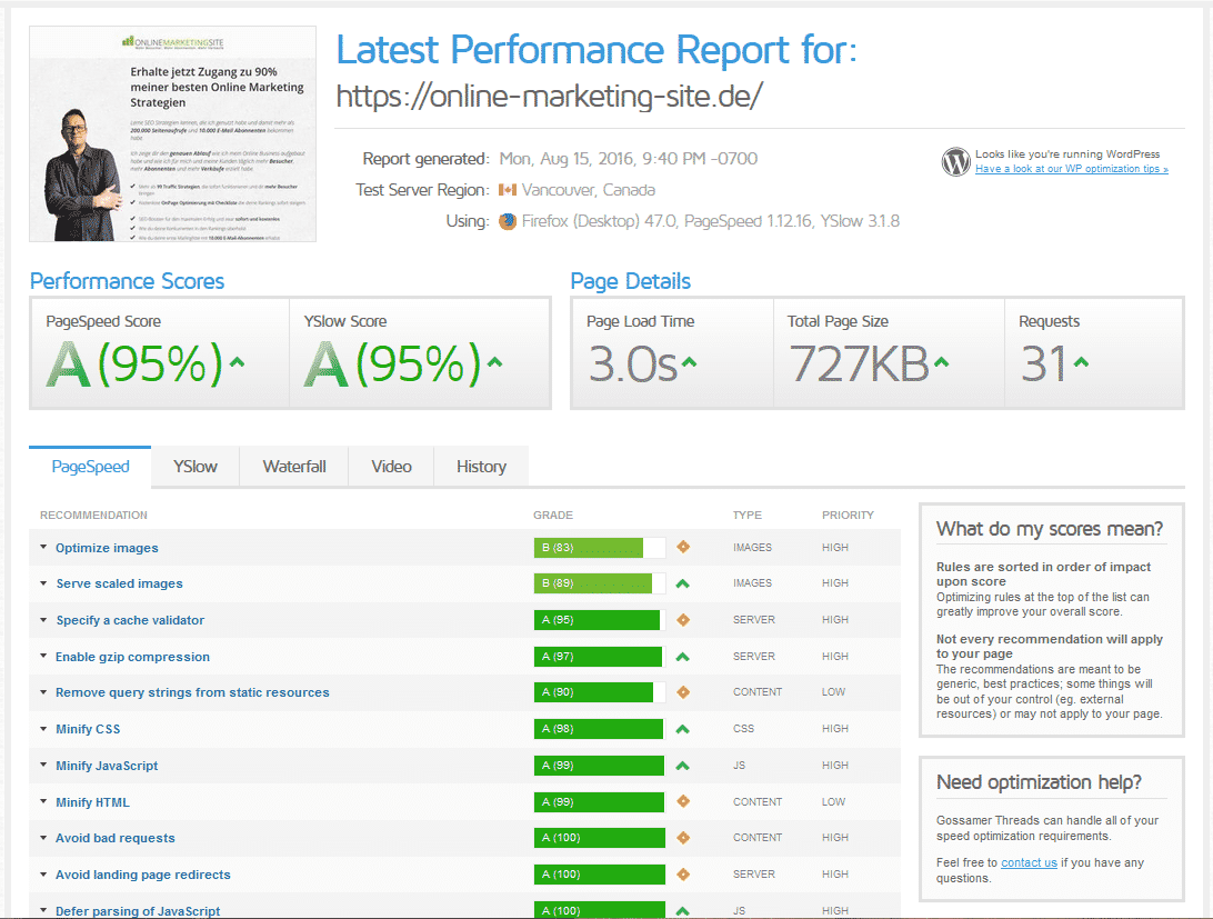 Performance Report der Online Marketing Site