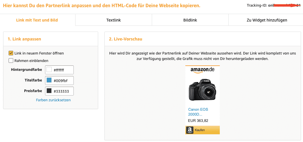 Partnerlink bei Amazon erstellen