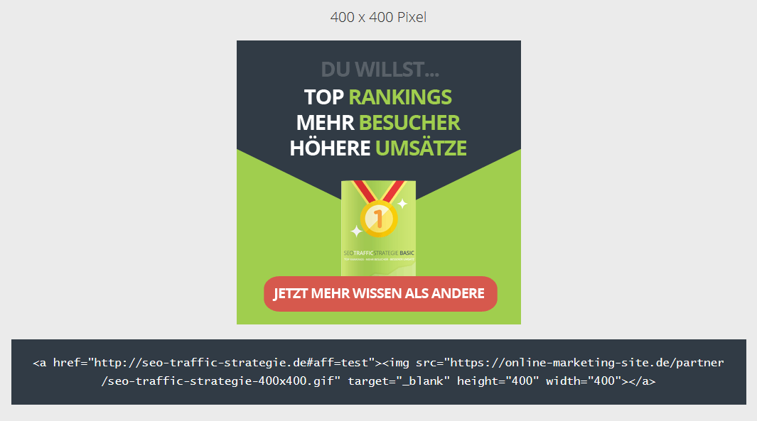 Die Partnerseite der SEO Traffic Strategie