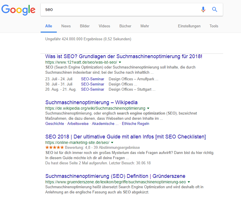 Rankings bei Google