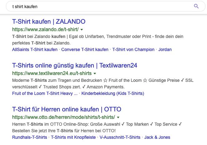 Suchergebnisse zu einem transaktionsorientierten Keyword