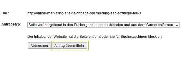URLs aus dem Google Index entfernen - Schritt 3