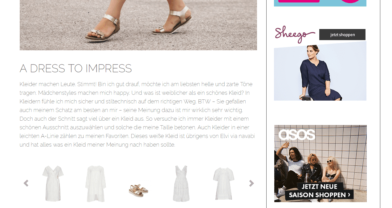 Affiliate Marketing auf einem Modeblog