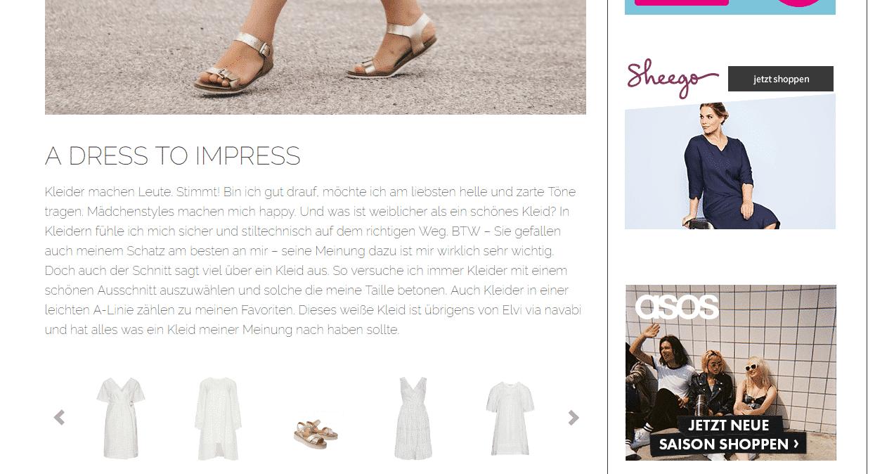 Affiliate Marketing auf einem Modeblog