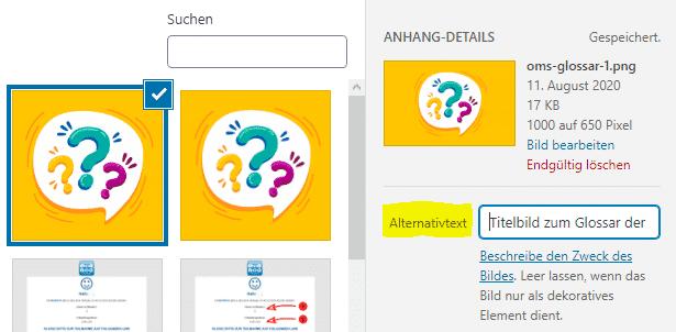 Alt-Attribut (Alternativtext) bei WordPress hinterlegen