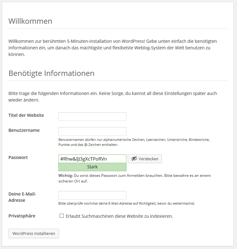 WordPress installieren - Websitedaten festlegen