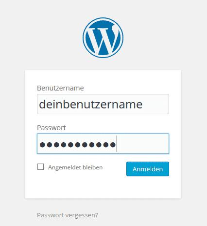 Das Loginfenster nach der WordPress Installation