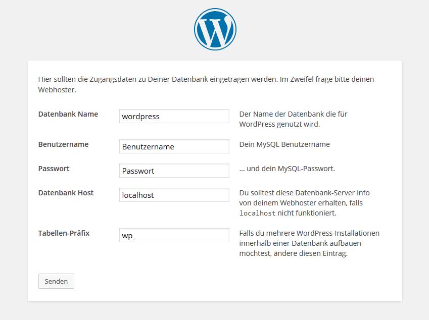 Wordpress installieren: Datenbankzugangsdaten angeben