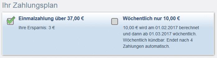 Zahlungspläne im Bestellformular